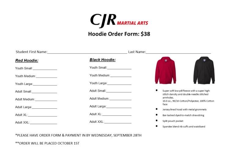 Hoodie Order Form
