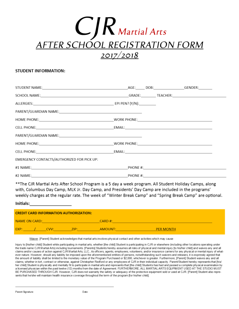Afterschool Reg Form