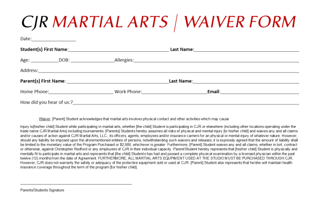CJR Waiver Form