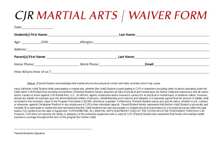 CJR Waiver Form