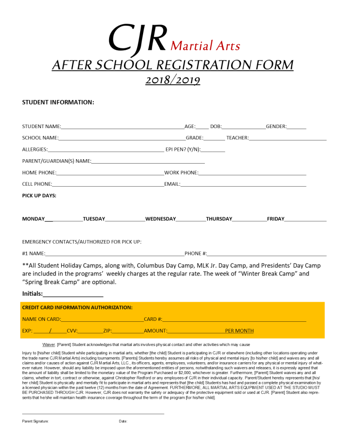 After School Reg 1819